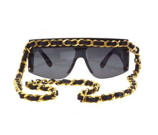 VINTAGE CHANEL GOLD AND BLACK CHAIN SUNGLASSES