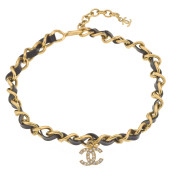 VINTAGE CHANEL BLACK/GOLD CHOKER WITH CC CHARM