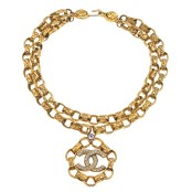 VINTAGE CHANEL MASSIVE DOUBLE CHAIN NECKLACE WITH RHINESTONES