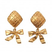 VINTAGE CHANEL BOW DANGLING EARRINGS