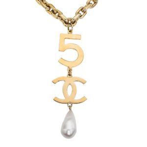VINTAGE CHANEL 5 CC LONG DROP NECKLACE