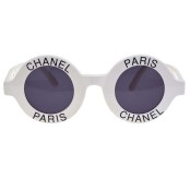 "VINTAGE CHANEL ""CHANEL PARIS"" LOGO ROUND WHITE SUNGLASSES – ON HOLD"