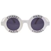 "VINTAGE CHANEL ""CHANEL PARIS"" LOGO ROUND WHITE SUNGLASSES – ON HOLD"
