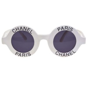 "VINTAGE CHANEL ""CHANEL PARIS"" LOGO ROUND WHITE SUNGLASSES"