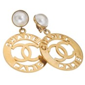 "VINTAGE CHANEL LARGE ""CHANEL PARIS"" EARRINGS"