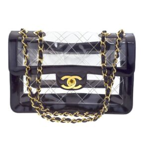 VINTAGE CHANEL BLACK PATENT/PVC JUMBO BAG
