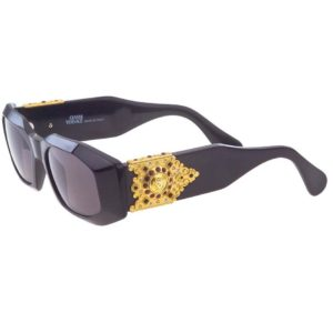 VINTAGE GIANNI VERSACE SUNGLASSES MOD 414/H Col 852 W/BLACK RED RHINESTONES