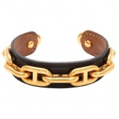 VINTAGE HERMES CHAIN MOTIF LEATHER BANGLE BLACK