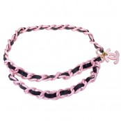 VINTAGE CHANEL LARGE PINK AND BLACK CHAIN BELT WITH CC