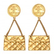 VINTAGE CHANEL 2.55 QUILTED BAG EARRINGS
