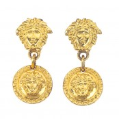 VINTAGE GIANNI VERSACE MEDUSA EARRINGS GOLD