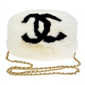 VINTAGE CHANEL HAND MUFF WHITE & BLACK LOGO – WAIT LIST