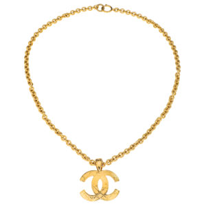 VINTAGE CHANEL QUILTED CC MOTIF NECKLACE