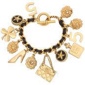 VINTAGE CHANEL ICONIC MOTIF CHARM & LEATHER BRACELET