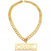 VINTAGE CHANEL MASSIVE LOGO PLATE NECKLACE – SOLD