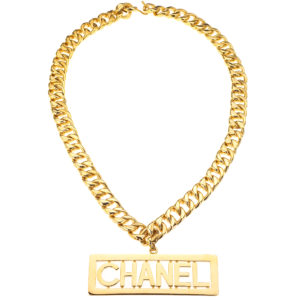 VINTAGE CHANEL MASSIVE LOGO PLATE NECKLACE