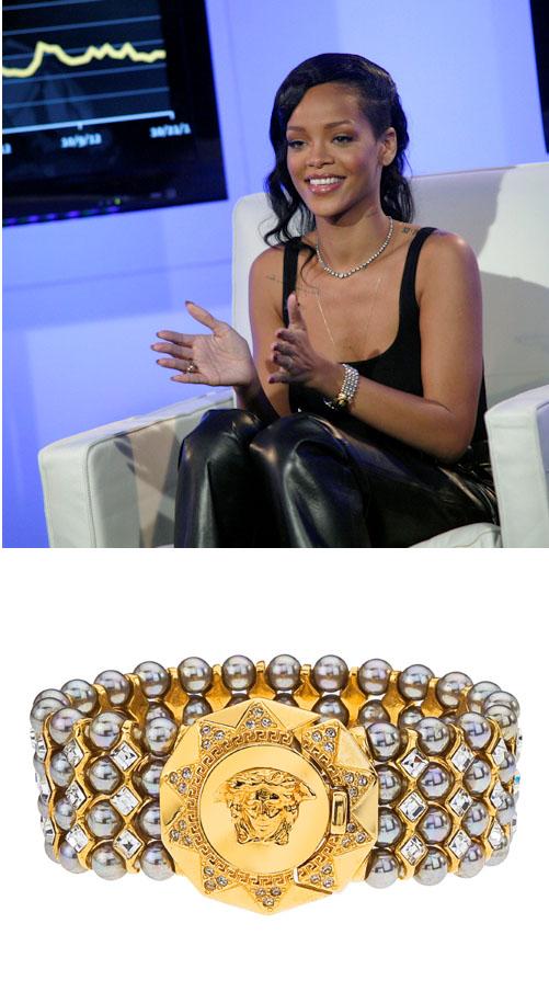 b22383e608 Rihanna wears Depuis 1924 Vintage Versace Bracelet for Facebook Interview  with Andy Cohen