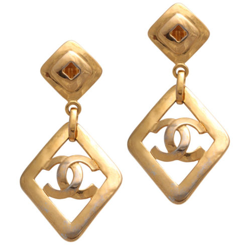 VINTAGE CHANEL LARGE DANGLING CC EARRINGS