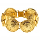 VINTAGE GIANNI VERSACE GOLD TONED BRACELET WITH 6 MEDUSAS – SOLD