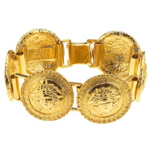 VINTAGE GIANNI VERSACE GOLD TONED BRACELET WITH 6 MEDUSAS