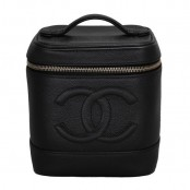 VINTAGE CHANEL BLACK CAVIAR SKIN VANITY COSMETIC BAG
