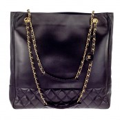 VINTAGE CHANEL BLACK TOTE BAG WITH CC AND QUILTED DETAILS