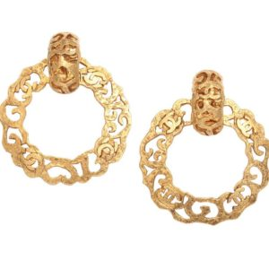 VINTAGE CHANEL GOLD TONE HOOP EARRINGS WITH CC LOGOS