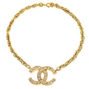 VINTAGE CHANEL LARGE CC NECKLACE WITH RHINESTONES