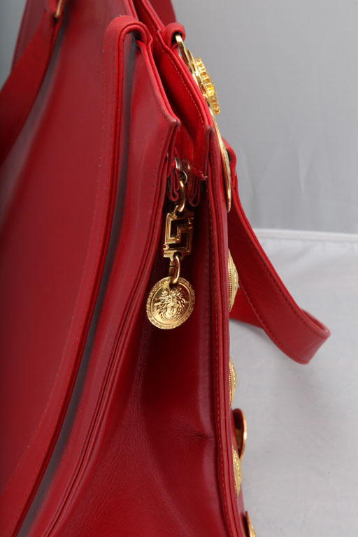 Vintage Gianni Versace Couture Red Large Tote Bag With Medusas