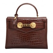 VINTAGE GIANNI VERSACE COUTURE CROC EMBOSSED BAG WITH MEDUSAS