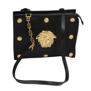 VINTAGE GIANNI VERSACE COUTURE BLACK SHOULDER BAG WITH MEDUSAS M