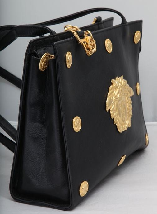 9c0e31c91973 VINTAGE GIANNI VERSACE COUTURE BLACK SHOULDER BAG WITH MEDUSAS M