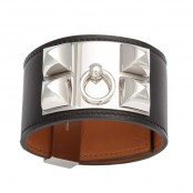 HERMES COLLIER DE CHIEN BRACELET BLACK AND SILVER