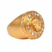 VERSACE MEDUSA MOTIF RING WITH RHINESTONES SIZE 7