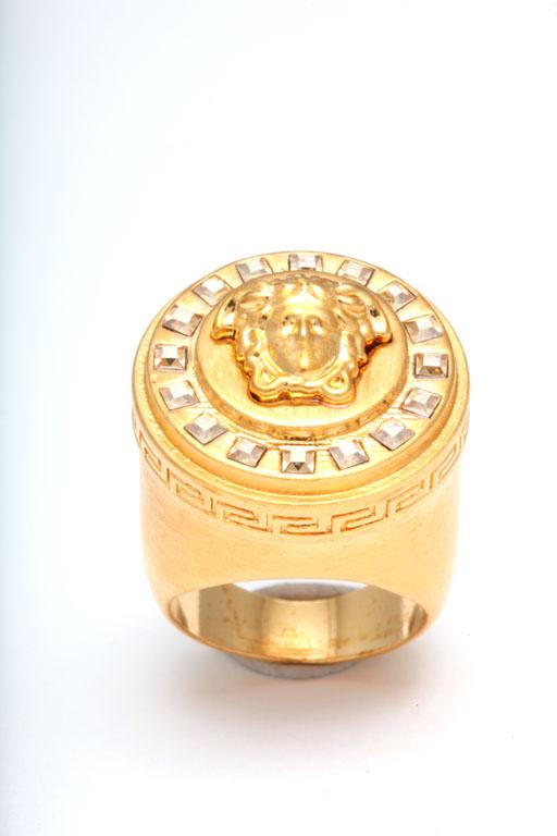 Versace Medusa Motif Ring With Rhinestones Size 7