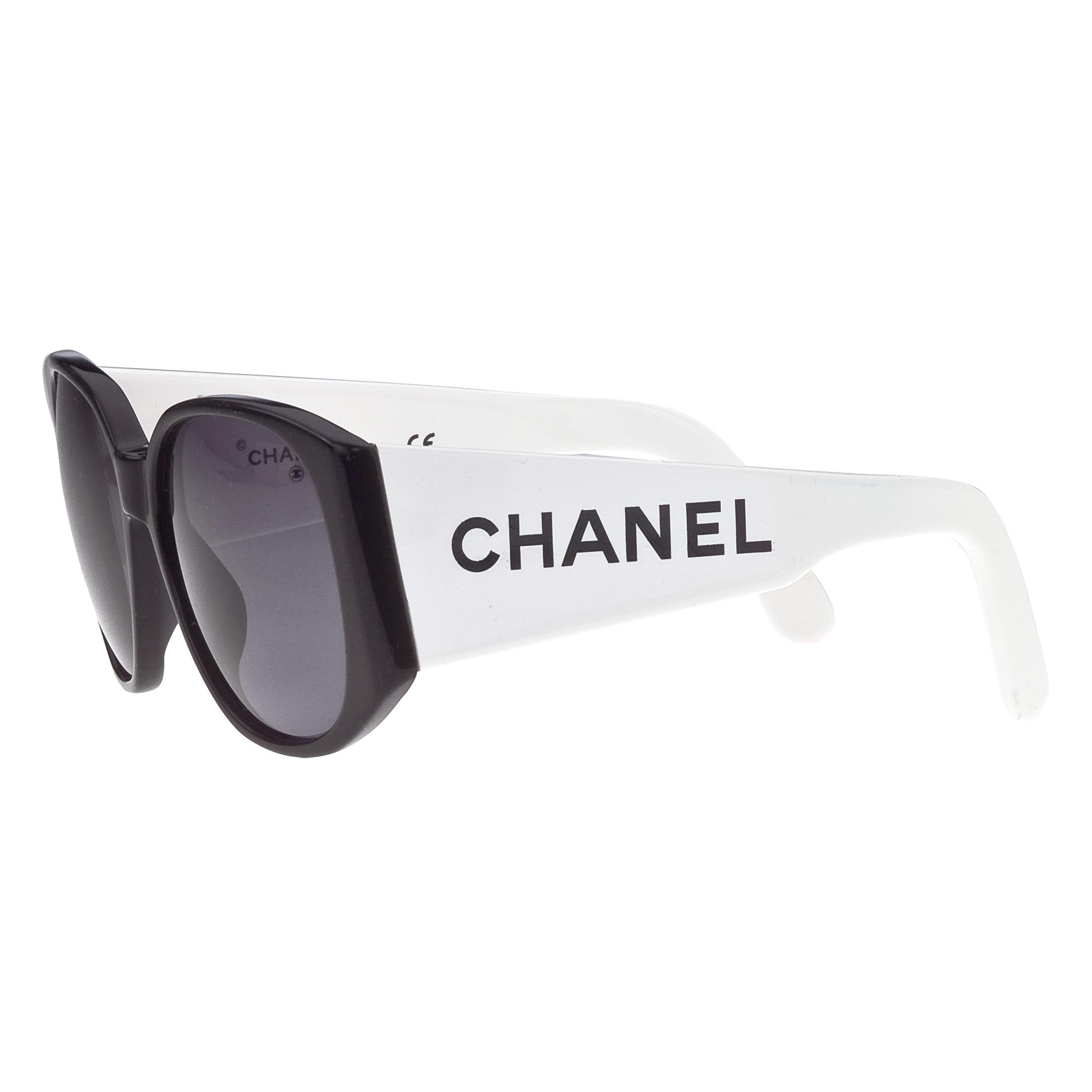 CHANEL BLACK AND WHITE LOGO SUNGLASSES 2
