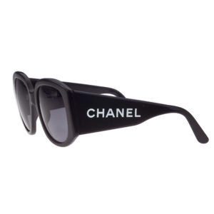 "VINTAGE CHANEL BLACK ""CHANEL"" LOGO SUNGLASSES"
