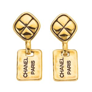 "VINTAGE CHANEL ""CHANEL PARIS"" TAG EARRINGS WITH QUILTED DETAILS"