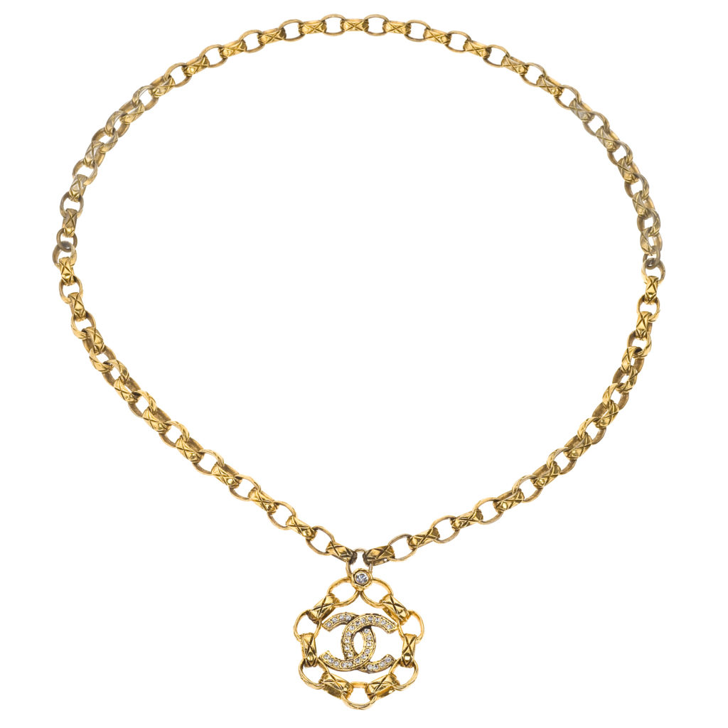 vintage chanel necklace with cc and quilted details