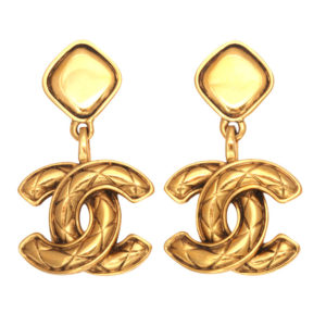 VINTAGE CHANEL QUILTED CC DANGLING EARRINGS