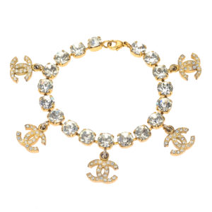 VINTAGE CHANEL RHINESTONE BRACELET WITH CC CHARMS – PRE-ORDER