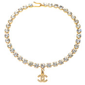 VINTAGE CHANEL RHINESTONE CHOKER NECKLACE WITH CC – WAIT LIST
