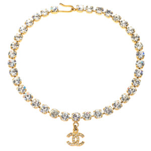 VINTAGE CHANEL RHINESTONE CHOKER NECKLACE WITH CC