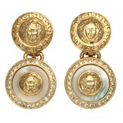 VINTAGE GIANNI VERSACE WHITE AND GOLD DANGLING EARRINGS WITH MEDUSA