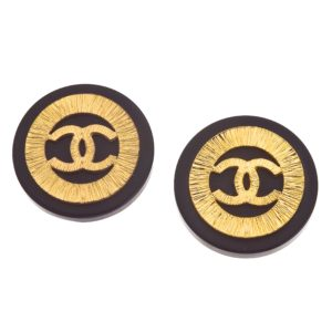 VINTAGE CHANEL BLACK AND GOLD CC CLIP-ON EARRINGS