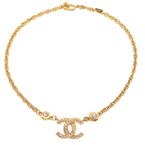 VINTAGE CHANEL CC NECKLACE WITH RHINESTONES