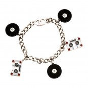 CHANEL CASSETTE TAPE AND RECORD MOTIF BRACELET