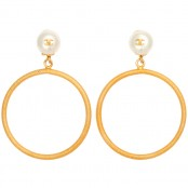 VINTAGE CHANEL LARGE CIRCLE DANGLING EARRINGS WITH PEARLS – SOLD