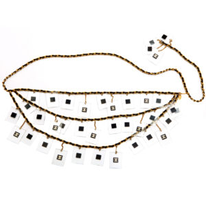 VINTAGE CHANEL CHAIN BELT/NECKLACE WITH LUCITE CC DISKS
