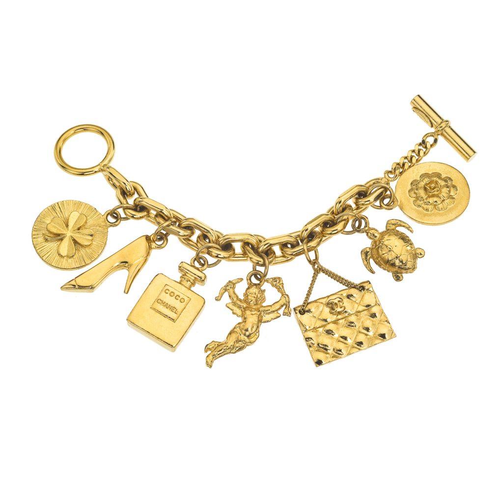 vintage chanel iconic 7 charm bracelet